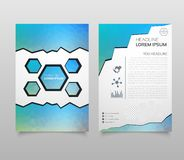 Business vector. Brochure template layout, cover design annual report, magazine, flyer in A4 with red flying triangles, square, ci. Rcles, flower, polygons for vector illustration