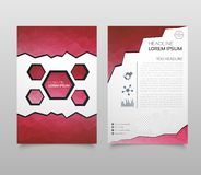Business vector. Brochure template layout, cover design annual report, magazine, flyer in A4 with red flying triangles, square, ci. Rcles, flower, polygons for royalty free illustration