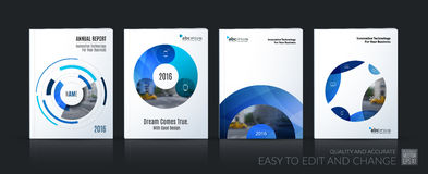 Business vector. Brochure template layout, cover soft design ann. Ual report, magazine, flyer in A4 with blue circle, rounds, sphere for PR, business, tech royalty free illustration