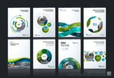 Business vector. Brochure template layout, cover soft design ann. Ual report, magazine, flyer in A4 with green circle, rounds, sphere for PR, business, tech stock illustration