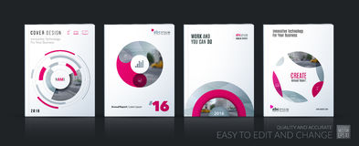 Business vector. Brochure template layout, cover soft design ann. Ual report, magazine, flyer in A4 with pink circle, rounds, sphere for PR, business, tech royalty free illustration