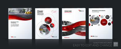 Business vector. Brochure template layout, cover soft design ann. Ual report, magazine, flyer in A4 with red circle, rounds, sphere for PR, business, tech royalty free illustration