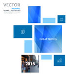 Business vector design elements for graphic layout. Modern abstr. Act background template with blue rectangles, squares for PR, business, tech in clean minimal royalty free stock photo