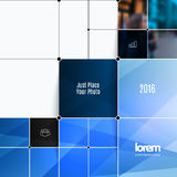 Business vector design elements for graphic layout. Modern abstr. Act background template with blue rectangular shapes, squares, lines, rounds for IT, business stock photos