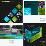 Business vector design elements for graphic layout. Modern abstr. Act background template with green eco squares, triangles, diagonal geometric shapes for tech Royalty Free Stock Images