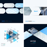Business vector design elements for graphic layout. Modern abstr. Act background template with grey blue squares, triangles, diagonal geometric shapes for tech Stock Photography