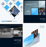 Business vector design elements for graphic layout. Modern abstr. Act background template with grey blue squares, triangles, diagonal geometric shapes for tech Royalty Free Stock Image