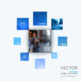 Business vector design elements for graphic layout. Modern abstr. Act background template with many blue rectangles, squares for PR, business, tech in clean Royalty Free Stock Images