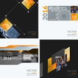 Business vector design elements for graphic layout. Modern abstr. Act background template with orange squares, triangles, diagonal geometric shapes for tech in Royalty Free Stock Images