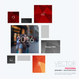 Business vector design elements for graphic layout. Modern abstr. Act background template with red rectangles, squares for PR, business, tech in clean minimal stock image