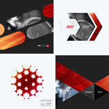 Business vector design elements for graphic layout. Modern abstr. Act background template with red squares, triangles, diagonal geometric shapes for tech in Stock Photography