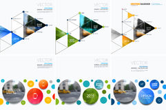 Business vector design elements for graphic layout. Modern abstr. Act background template with rounds, triangles, polygons for PR, business, tech in clean royalty free stock photos