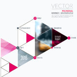 Business vector design elements for graphic layout. Modern abstr. Act background template with triangles, polygons for PR, business, tech in clean minimal style Royalty Free Stock Images