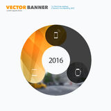 Business vector design elements for graphic layout. Modern abstr. Act background template with yellow circle round diagram for IT, technology in clean minimal royalty free stock photography