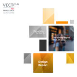 Business vector design elements for graphic layout. Modern abstr. Act background template with yellow rectangles, squares for PR, business, tech in clean minimal royalty free stock image