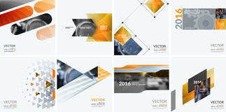 Business vector design elements for graphic layout. Modern abstr. Act background template with yellow squares, triangles, diagonal geometric shapes for tech in Royalty Free Stock Images