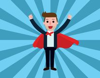Business Vector flat cartoon design. banner background concept. Super businessman in red capes..standing with confident..Vector flat cartoon character icon stock illustration