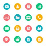 Business vector flat icons set of 16. On colored dice Stock Images