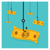 Business Vector hook icon dollar cash pile Royalty Free Stock Images