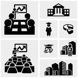 Business vector icons set on gray Royalty Free Stock Image