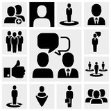 business vector icons set on gray. Stock Photos