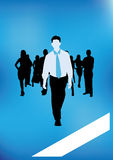 Business vector illustration. With shilouettes of businessmen Royalty Free Stock Photo