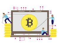 Business vector illustration of the bitcoin mining. Little men Royalty Free Stock Photography