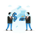 Business vector illustration. Businessman holding big dollar sign and laptop. Pay for work concept. Stock Photography