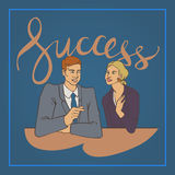 Business vector illustration man talking woman handwriting lettering word success. Vector illustration with groupe of office people man and woman talking with Stock Photo