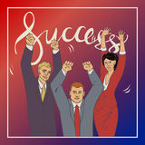 Business vector illustration ofice people and handwriting lettering word success. Vector illustration with groupe of office people who who raise hands and happy Royalty Free Stock Images