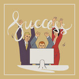 Business vector illustration with ofice people handwriting lettering word success. Vector illustration with groupe of office people who who raise hands and happy Stock Images
