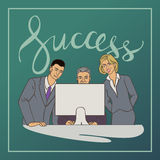 Business vector illustration with ofice people and handwriting word success. Vector illustration with groupe of office people who watching at computer with Stock Images