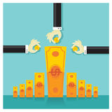 Business vector investment money rich savings bank royalty free stock photography
