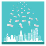 Business vector money buildings success blue background Stock Image