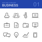 Business vector outline icon set Stock Photography