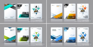 Business vector set. Brochure template layout, cover design annu. Al report, flyer in A4 with triangles, arrows for business, finance, buildings, nature concept Royalty Free Stock Image