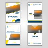 Business vector set. Brochure template layout, cover design annual report, magazine, flyer in A4 with yellow blue flying triangles. Square, circles, flower royalty free illustration