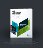 Business vector template. Brochure design, cover modern layout a. Nnual report, poster, flyer in A4 with blue diagonal abstract shapes for construction, teamwork stock illustration