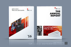 Business vector template. Brochure design, cover modern layout a. Nnual report, poster, flyer in A4 with red diagonal abstract shapes for construction, teamwork Stock Images