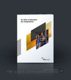 Business vector template. Brochure design, cover modern layout a. Nnual report, poster, flyer in A4 with yellow diagonal abstract shapes for construction stock illustration