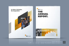 Business vector template. Brochure design, cover modern layout a. Nnual report, poster, flyer in A4 with yellow diagonal abstract shapes for construction Royalty Free Stock Images