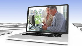 Business video on digitally created laptop stock video footage