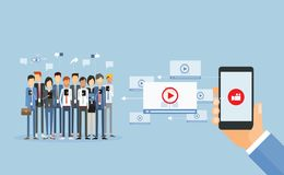 Business video marketing content online and video video sharing stock illustration