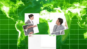Business videos falling onto green world map and globe Royalty Free Stock Photos