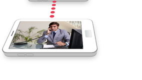 Business videos on a mobile phone Stock Image