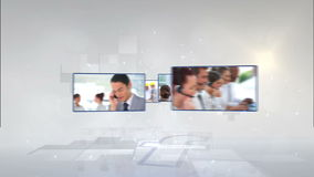Business videos rotating above a F Royalty Free Stock Photo