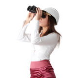 Business vision. Concept, enginer woman looking throught binoculars, isolated on white Royalty Free Stock Photography