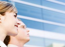 Business Vision. Business man and woman looking ahead with vision Stock Photo