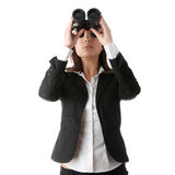 Business vision concept. Enginer woman looking throught binoculars, isolated on white Stock Photos