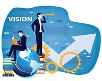 Business Vision Concept, Businessman Looking Forward to the Future. With telescope, Vector illustration stock illustration